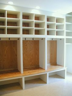 love the idea of locker style shelving in the mud room of a house for kids! i would do it with cork boards as the backs though instead! to hang reminders, pictures or schedules!