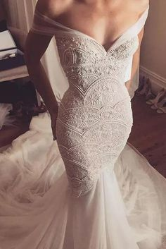 Chic Off-the-shoulder Lace Beading Sweetheart by PrettyLady on Zibbet Perfect Wedding Dress, Dream Wedding Dresses, Bridal Dresses, Wedding Gowns, Gatsby Wedding Dress, Wedding Dress Trumpet, Trumpet Dress, Mark Zunino Wedding Dresses, Extravagant Wedding Dresses