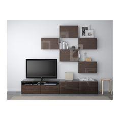 BESTÅ TV storage combination - black-brown/Selsviken high-gloss/brown, drawer runner, push-open - IKEA