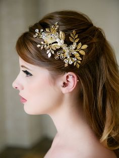 Gold Wedding Hair comb Gold and Pearl Bridal by GildedShadows