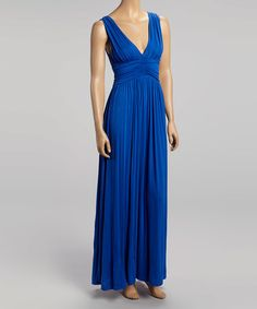 This Royal Blue V-Neck Maxi Dress by La Class is perfect! #zulilyfinds