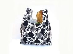 Market tote bag - a reusable shopping bag in pretty black and white fabric. by NancyEllenStudios, $24.00