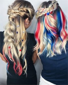 In honor of the Fourth of July, we pulled 11 all-American looks that are bold, bright and sparkly. Blonde Hair With Blue Highlights, Blonde And Blue Hair, Hair Color Blue, Hair Dye Colors, Cool Hair Color, Hair Highlights, Color Highlights, Holiday Hairstyles, Easy Hairstyles