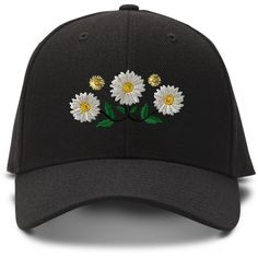 Daisy Chain Embroidery Embroidered Adjustable Hat Baseball Cap ($12) ❤ liked on Polyvore featuring accessories, hats, ball cap, embroidered baseball caps, baseball hats, embroidered hats and adjustable hats