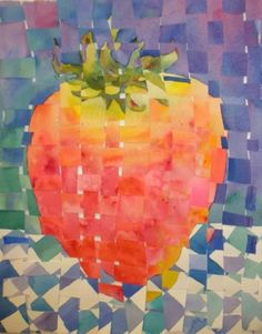 Woven Strawberry - watercolor weaving how to do it, painting by artist Kay Smith