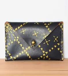 Little Sashiko Print Leather Envelope Wallet by Chloé Derderian-Gilbert on Scoutmob
