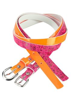 Produkttyp , Gürtel, |Farbe , pink-orange, |Materialzusammensetzung , Obermaterial: 100% Polyurethan, |Nickelfrei , Ja, |Optik , Glänzend, |Verschlussart , Einfachdornschließe, | ...