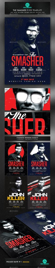 Movie Dark Red Flyer Template - Flyers Print Templates