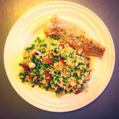 Roerbakrisotto met champignons, doperwtjes, chorizo en vis #risotto #champignons #doperwtjes #chorizo #witvis