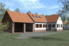 Udvari látkép előtérben a pajtával / Hofansicht mit Scheune im Vordergrund Farmhouse, Exterior, Cabin, Rustic, Traditional, House Styles, Outdoor Decor, Modern, Buildings