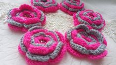 Crochet flowers pink and gray whith beads center decoration flowers scrapbooking flowers appliques crochet supplies set of 6 pcs