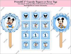 Baby Mickey Mouse 2 Cupcake Toppers or by CreativePartyPixels, $4.00
