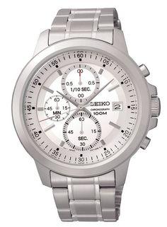 Montre Homme Seiko Chronographe SKS441P1, boîtier et bracelet en acier, cadran blanc, fonction chronographe et date.