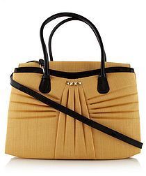 Pleated leather trim tote bag in yellow  - Valentino