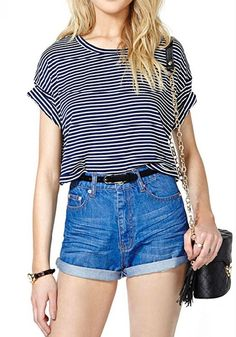 Blue-White Striped Print Round Neck Short Sleeve T-Shirt