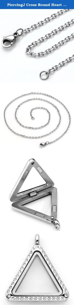 "PiercingJ Cross Round Heart Triangle Moon Stainless Steel Crystal Memory Floating Charm Locket Pendant Necklace - 21.5"" Length. High Quality Stainless Steel + Czech Crystal+ Clear Glass. Locket pendant size: 26mm(L) *26mm(W)*6mm(D). Stainless Steel Necklace length:21.5 inches. You can put any charms/beads/ hair/or other personal things you like in the pendant. Make a necklace that only belongs to you. Package Included: 1 pendant+ 1 chain necklace ( little accessories in the pendant NOT..."