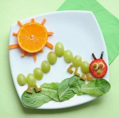 LOVE!!!!  This is such an adorable snack:) I think this is a good snack idea for maybe preschool or kindergarten. It's good because they have many different colors in front of them and they should be able to identify the colors, fruits, and the shapes. It sounds very fun to make!