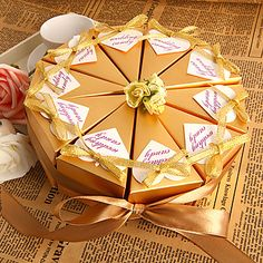Golden Flower Favor Box (Set of 10) – USD $ 4.05