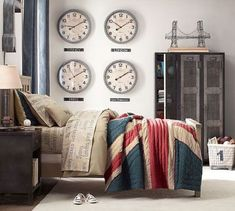33 Awesome Industrial Bedroom Designs: 33 Awesome Industrial Bedroom Designs With Wall Clock Ornament And Beige Bed And Wooden Nightstand Design