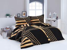 Povlečení GLITTER, zlatočerná geometrie, bavlna hladká (více rozměrů) | TextilCentrum.cz Bed, Comforters, Home