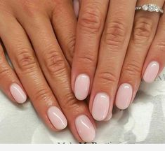 Nail art is a very popular trend these days and every woman you meet seems to have beautiful nails. It used to be that women would just go get a manicure or pedicure to get their nails trimmed and shaped with just a few coats of plain nail polish. Nude Nails, My Nails, Pale Pink Nails, Coffin Nails, Short Nails Shellac, Summer Shellac Nails, Short Pink Nails, Pink Coffin, Nail Summer