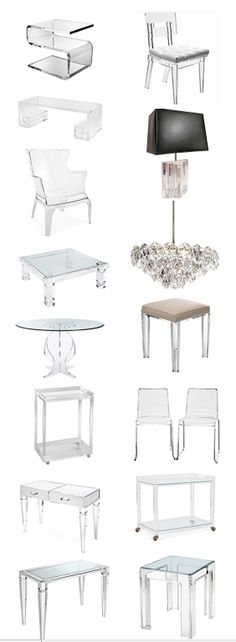 All acrylic furniture and accessories, new today, some actually AFFORDABLE! Like the pair of chairs for $225