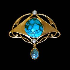 MURRLE BENNETT & Co. (1896-1914)  A gold brooch set with a matrix turquoise and two pearls within an entrelac  whiplash mount. A matrix turquoise drop below. Anglo/German c.1900.   Marks for MB & Co. and 15 ct. Size: Height 3.8 cm. Width 3.9 cm. (Fitted Case)  Lit.: Art Nouveau Jewelry. Vivienne Becker. Liberty Style. Academy Editions.
