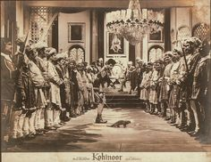 A lobby card for Kohinoor (1960), starring Dilip Kumar and Meena Kumari– in comic roles! Do you know what's going on here because I don't