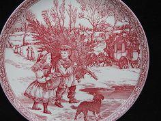 Spode Christmas Plate in Red Transferware | eBay