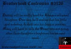 Dating will be really hard for Rhage's adopted daughter. One day, he'll realize that his little girl is dating & shift into his dragon persona. Mary will have to talk the Beast into not going after their daughter's boyfriend for his next meal.