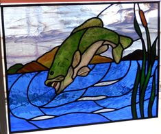 Fish Stained Glass Green Bass by epstainedglass on Etsy, $695.00