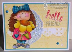 """High Hopes Stamps - """"Hello Friend"""" by Donna using """"Miss Marissa"""" (S015)"""