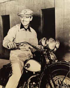 Clark Gable on a Harley Davidson Motorcycle.
