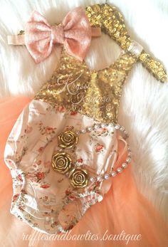 Peach Cream & Gold Floral Tutu Romper - Vintage Floral Romper - Smash Cake - 1st Birthday - Second Birthday - Princess - Sparkle - Gold sparkle