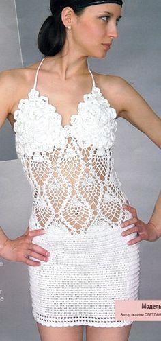 vestido de crochet blanco