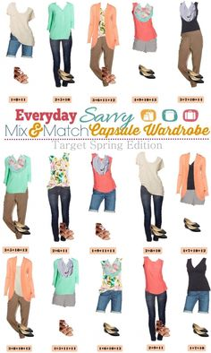 Target Spring Capsule Wardrobe with mix and match looks. I love the chevron shorts. They are so cute and surprisingly versatile.  The jogger pants are comfy and stylish and the Target popover tops are always a great staple too!