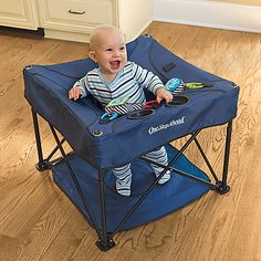 """I always wished that I could take my Exersaucer on trips.  The smart folks at One Step Ahead have now made that possible!  This activity center folds up like one of those camp chairs for portability in luggage or the trunk!"""