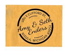 Custom Address Stamp Round Return Address by TailorMadeStamps, $29.00