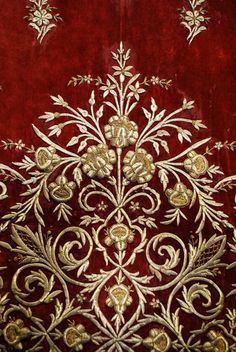 Antique Ottoman Gold Thread Densely Embroidered Large Panel On Burgundy Velvet