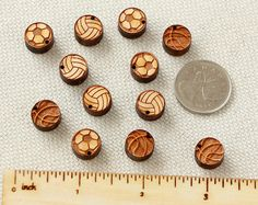 Sport Ball Set  collection of 12pcs wooden charms by Schmaser