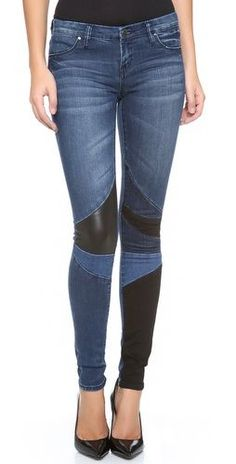 @roressclothes closet ideas #women fashion outfit #clothing style apparel Patchwork Skinny Jeans