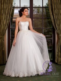 Ball gown with straight necklace. #wedding #bridal #weddingdress #brides #ideas #dresses