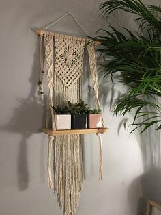 67 IndoorOutdoor Polyolefin Boho Home Decor Handmade Macrame 2 plant  pot Plant Hanger Brown with wood beads