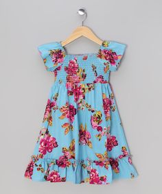 Take a look at this Aqua & Red Floral Cap-Sleeve Dress - Toddler & Girls on zulily today!