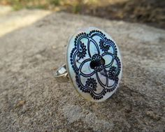 Black & White Adjustable Button Ring  Celtic by LadyResplendence, $10.80