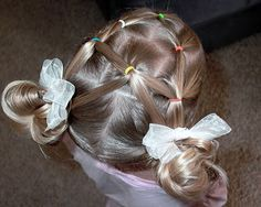 """Shaunell's Hair: Little Girl's Hairstyles -""""A"""" puffy braids with stuffed buns 7-10 min"""