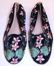 Vintage Victorian Antique Black Velvet Violet Embroidered Men's Slipper Shoes