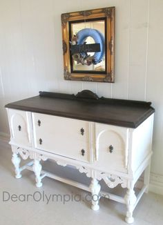 Elegant Sideboard and Server in CeCe Caldwell's Vintage White | Chalk and Clay Paint | Minwax Dark Walnut | Vintage White | Painted Furniture | Painted Sideboard | Painted and Stained Buffet