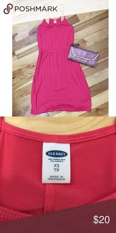 """Beautiful NWOT Pink Dress Perfect cute but comfortable summer dress! It says XS but could DEF fit a Small. 95% Rayon and 5% Spandex. It's really comfortable material and isn't see-through. Hits me JUST above the knee and I'm 5'6""""! Old Navy Dresses Mini"""