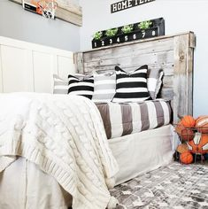 This entire bedroom is a #diy:) from the barn wood headboard to the basketball hoop wall down to the board and batten. And every kid should have zip up bedding!! We love @beddysbeds Kids Bedroom, Bedroom Ideas, Bedroom Decor, Zip Up Bedding, Beddys Bedding, Wood Headboard, Make Your Bed, Basketball Hoop, Ship Lap Walls